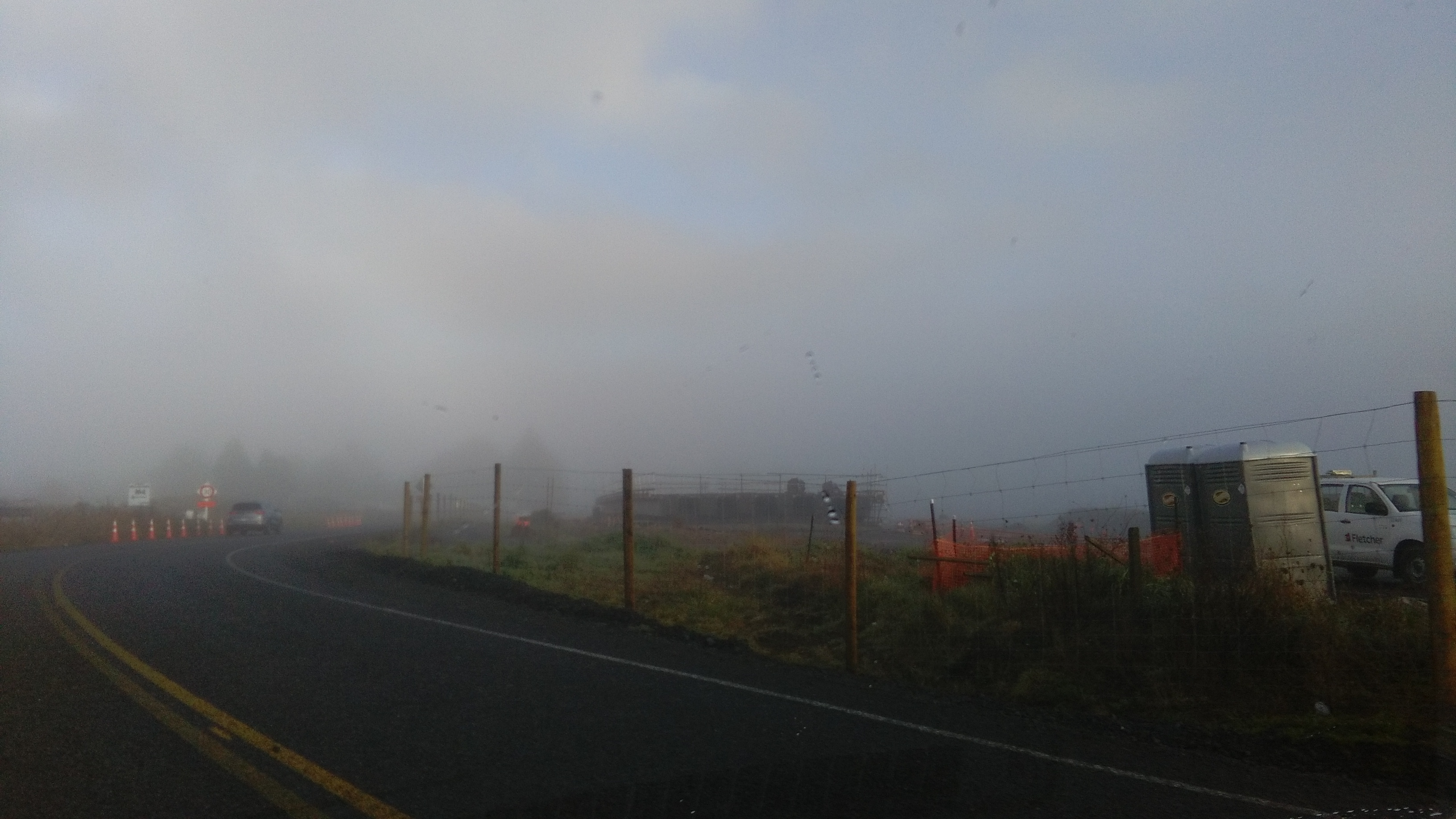 Bridge expressway matangi road in the fog