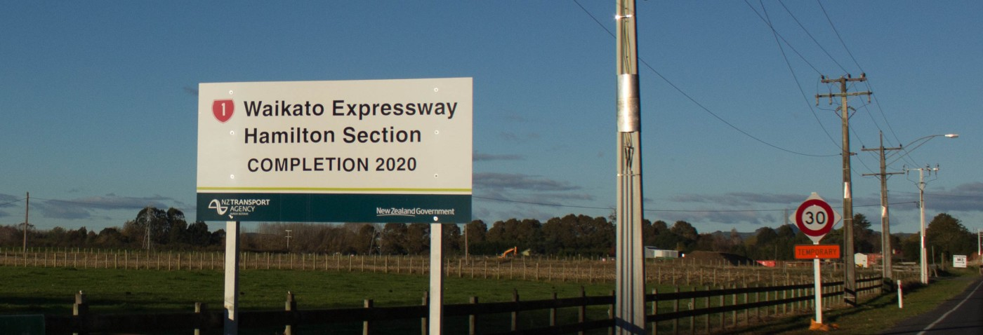 Expressway sign on Matangi Road Completion 2020