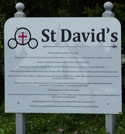 History Sign for St David's Church Matangi