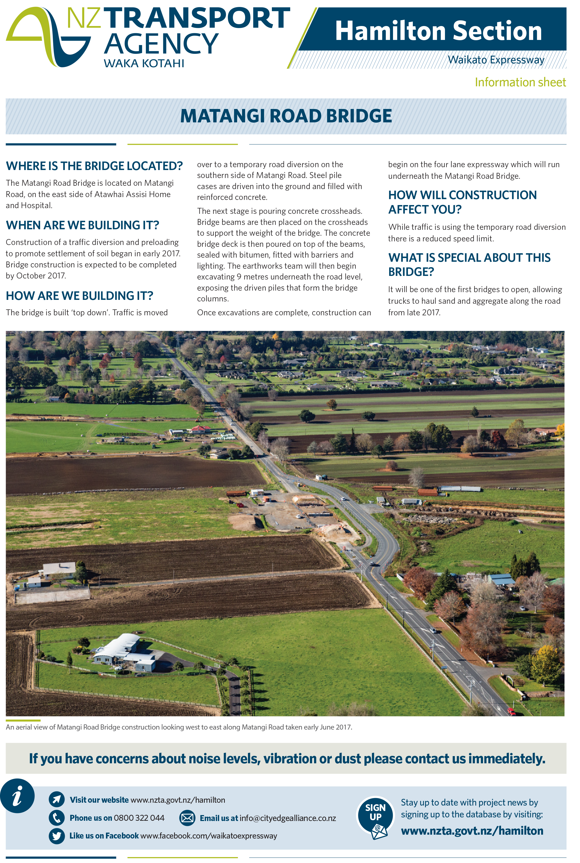 NZTA Information on Matangi Road Bridge