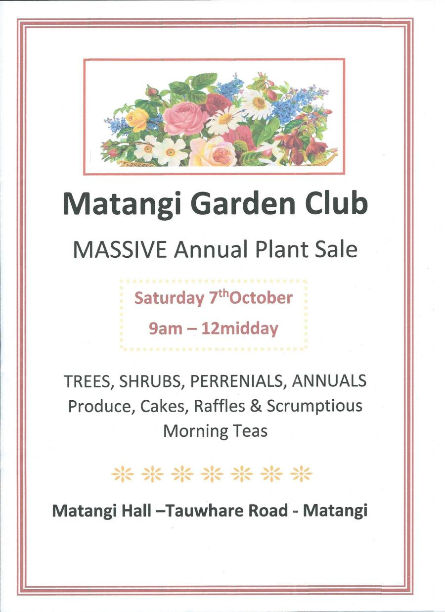 Matangi Garden Club Plant Sale 2017