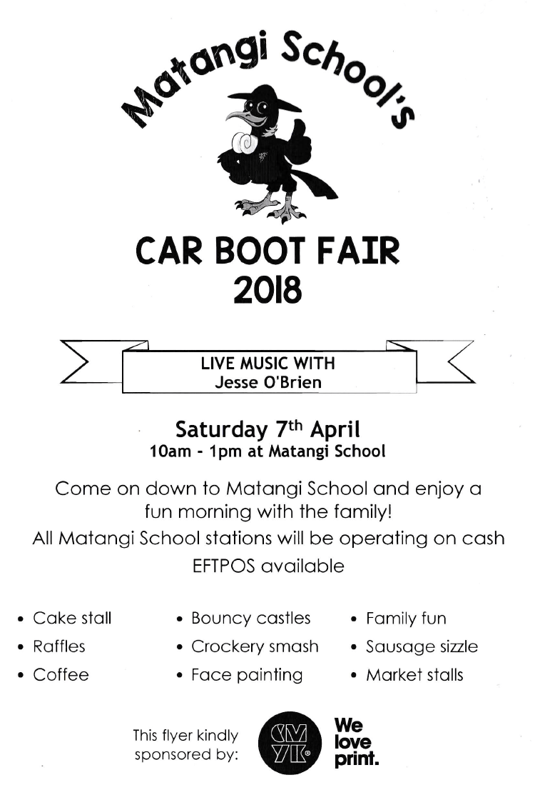 Matangi School's Car Boot Fair 2018 Flyer