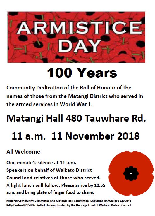 Armistace Day, Matangi