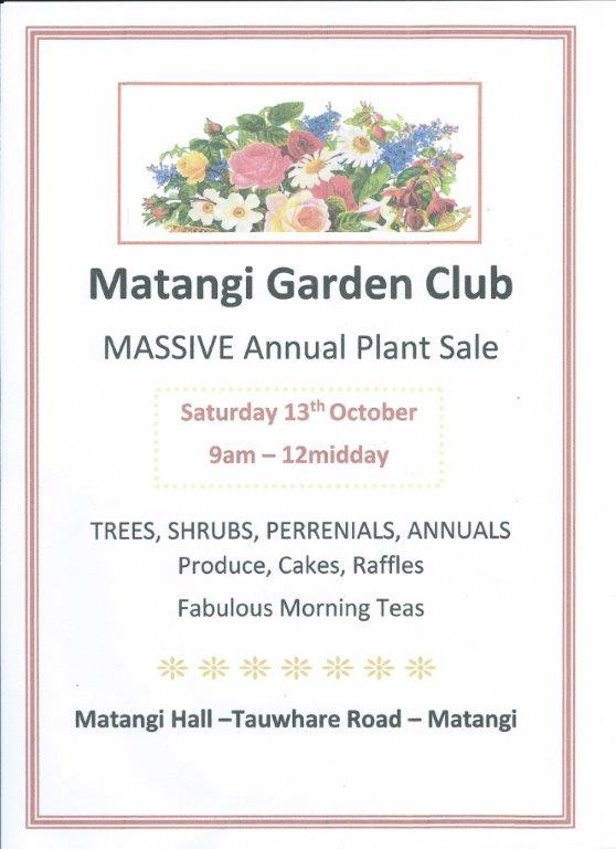 Matangi Garden Club Plant Sale ad 2018