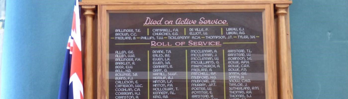 World War One Roll of Honour - Matangi District, Waikato, New Zealand