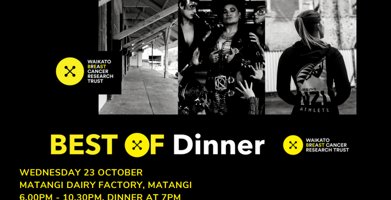 Waikato Breast Cancer Research Trust Fundraising Dinner at Matangi Dairy Factory Wed 23 Oct 2019